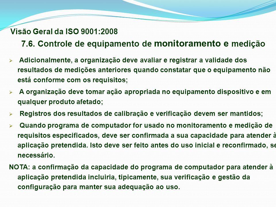 7.6. Controle de equipamento de monitoramento e medição