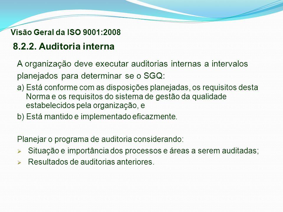 Visão Geral da ISO 9001:2008 8.2.2. Auditoria interna. A organização deve executar auditorias internas a intervalos.