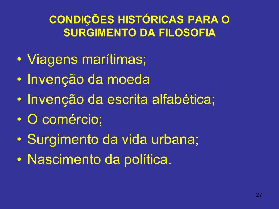 CONDIÇÕES HISTÓRICAS PARA O SURGIMENTO DA FILOSOFIA