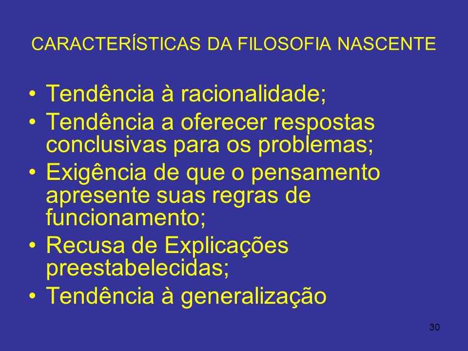 CARACTERÍSTICAS DA FILOSOFIA NASCENTE