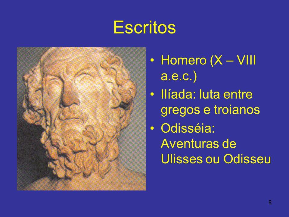 Escritos Homero (X – VIII a.e.c.) Ilíada: luta entre gregos e troianos
