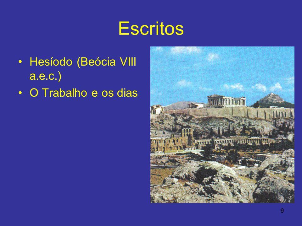 Escritos Hesíodo (Beócia VIII a.e.c.) O Trabalho e os dias