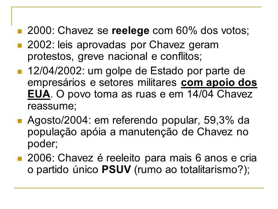 2000: Chavez se reelege com 60% dos votos;
