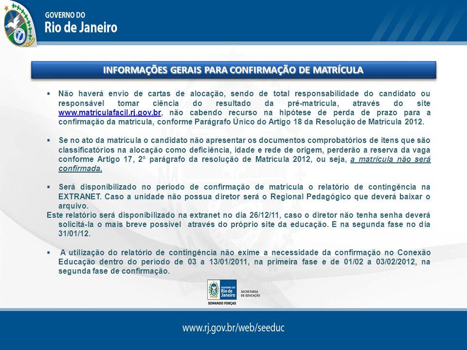 INFORMAÇÕES GERAIS PARA CONFIRMAÇÃO DE MATRÍCULA