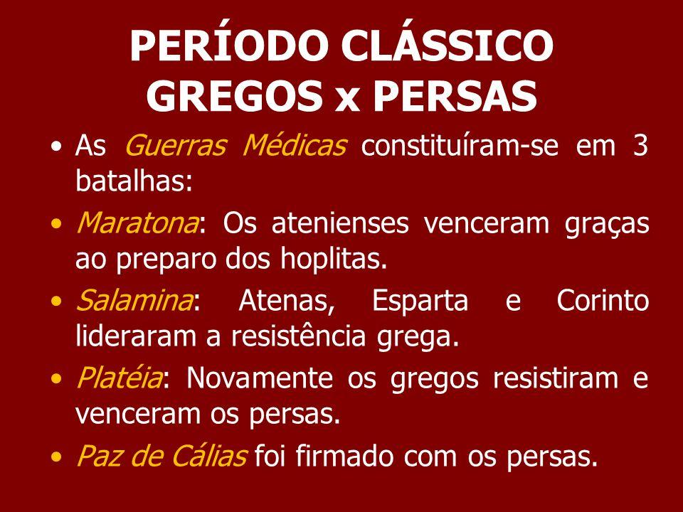 PERÍODO CLÁSSICO GREGOS x PERSAS