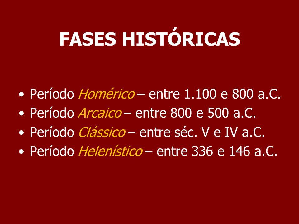 FASES HISTÓRICAS Período Homérico – entre 1.100 e 800 a.C.