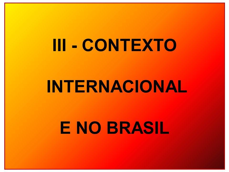 III - CONTEXTO INTERNACIONAL E NO BRASIL