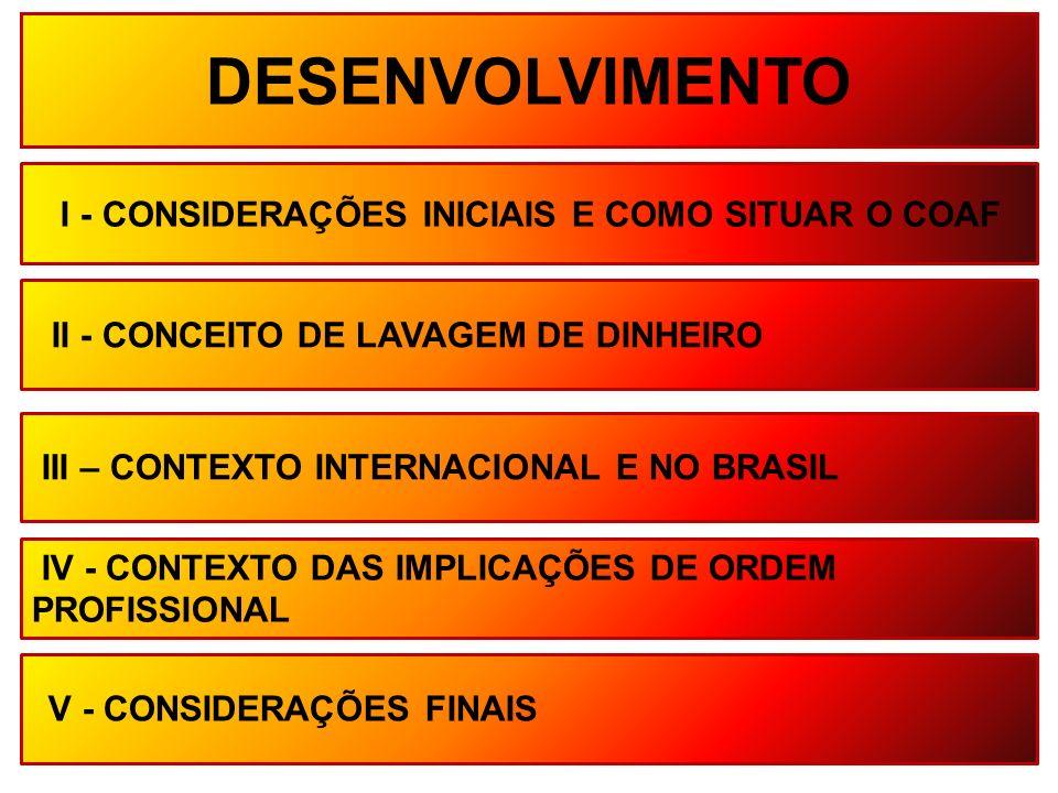 DESENVOLVIMENTO I - CONSIDERAÇÕES INICIAIS E COMO SITUAR O COAF