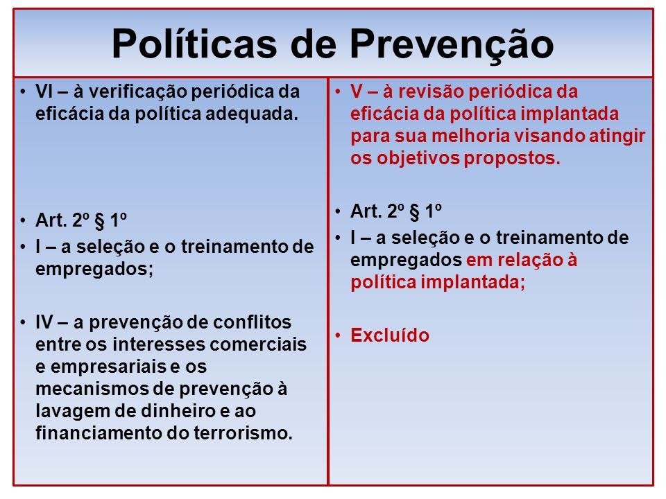 Políticas de Prevenção