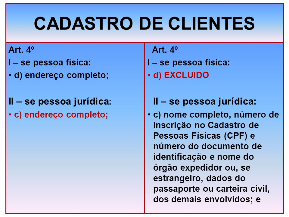 CADASTRO DE CLIENTES II – se pessoa jurídica: II – se pessoa jurídica: