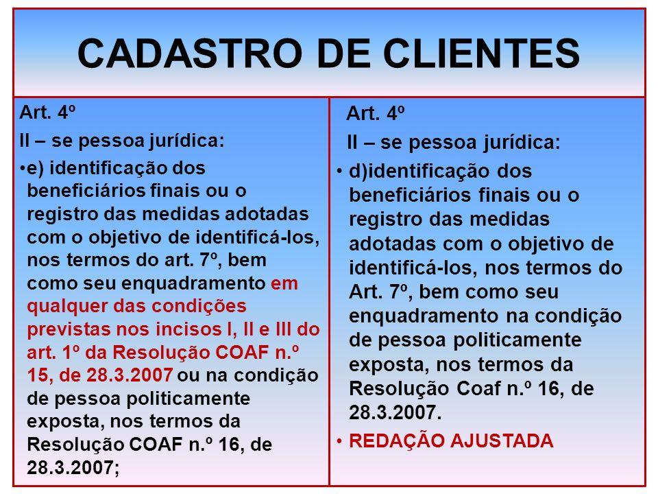 CADASTRO DE CLIENTES Art. 4º II – se pessoa jurídica: