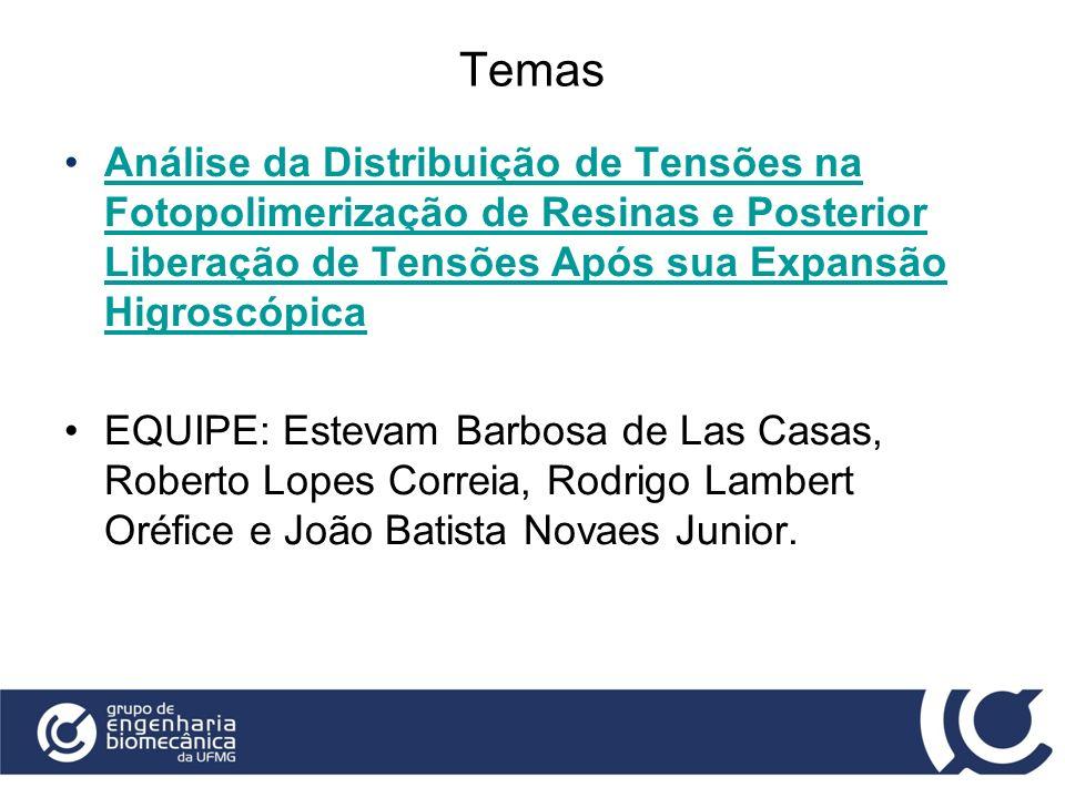 Temas Análise da Distribuição de Tensões na Fotopolimerização de Resinas e Posterior Liberação de Tensões Após sua Expansão Higroscópica.