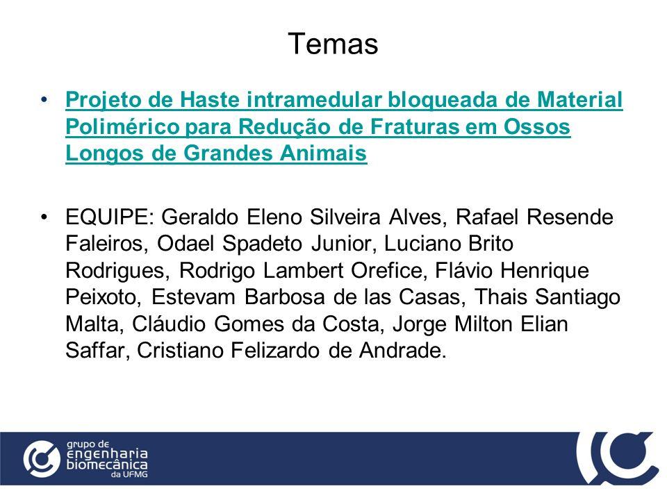 Temas Projeto de Haste intramedular bloqueada de Material Polimérico para Redução de Fraturas em Ossos Longos de Grandes Animais.