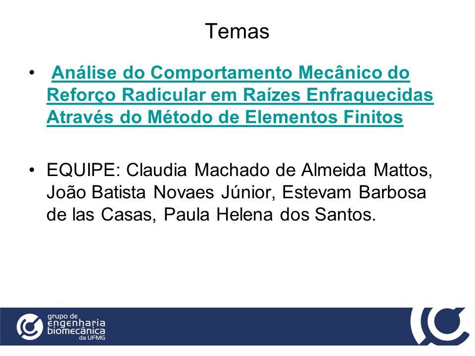 Temas Análise do Comportamento Mecânico do Reforço Radicular em Raízes Enfraquecidas Através do Método de Elementos Finitos.