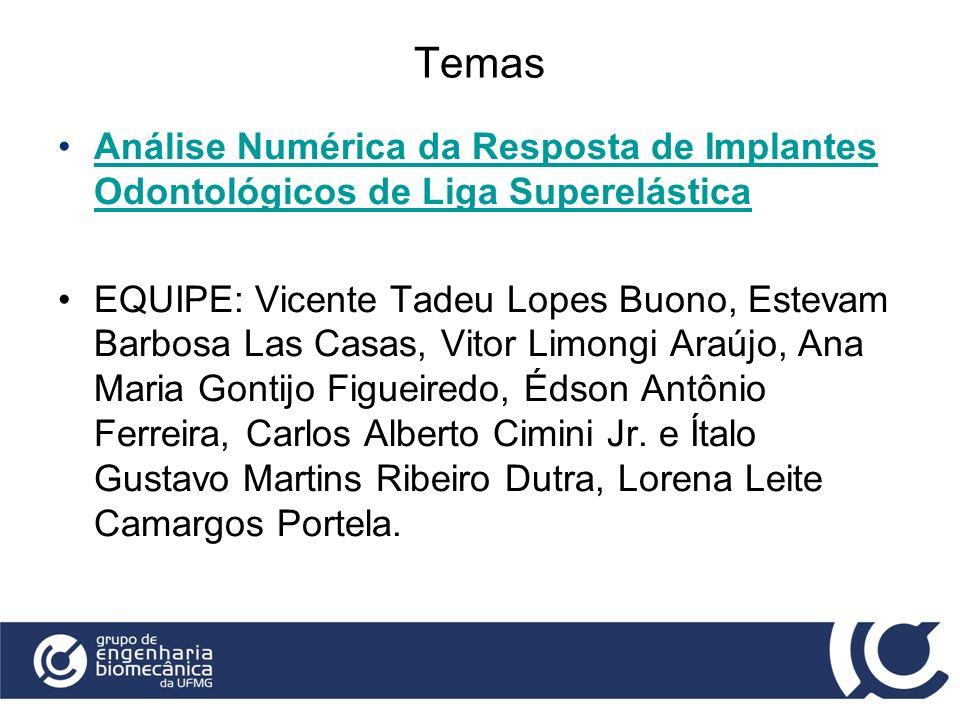 Temas Análise Numérica da Resposta de Implantes Odontológicos de Liga Superelástica.