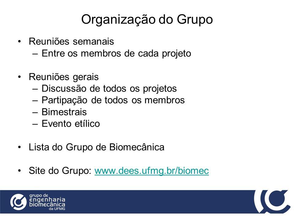 Organização do Grupo Reuniões semanais