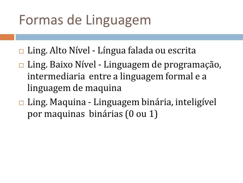 Formas de Linguagem Ling. Alto Nível - Língua falada ou escrita