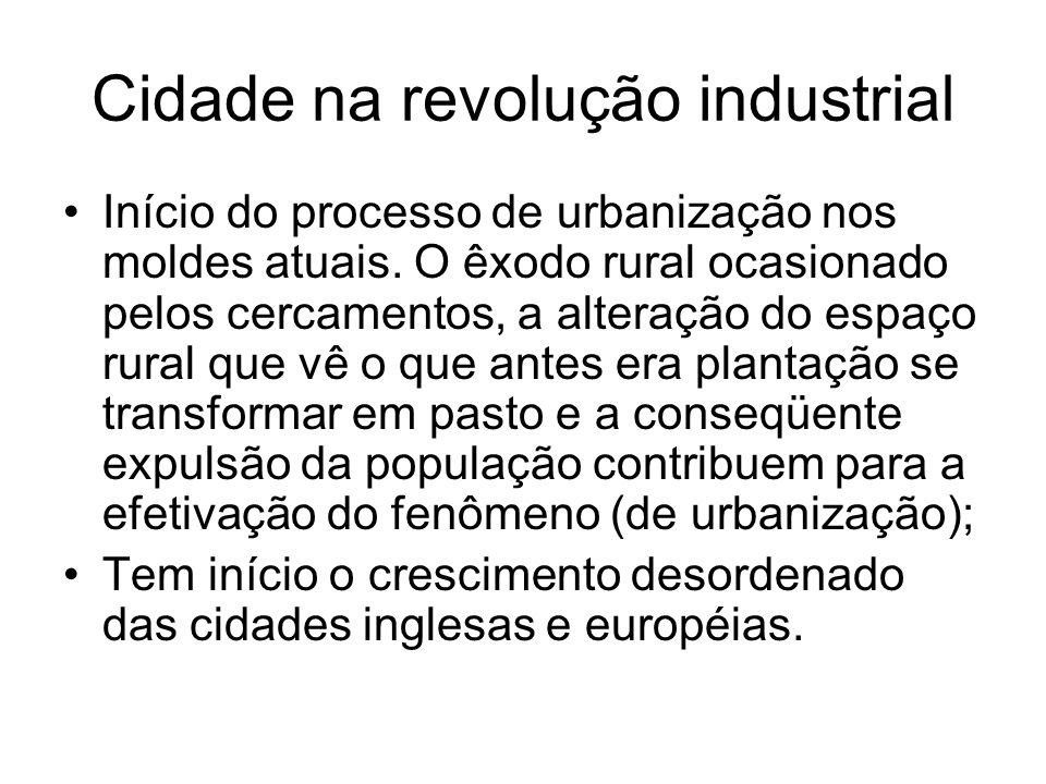 Cidade na revolução industrial