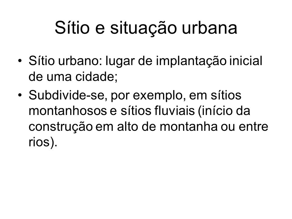 Sítio e situação urbana