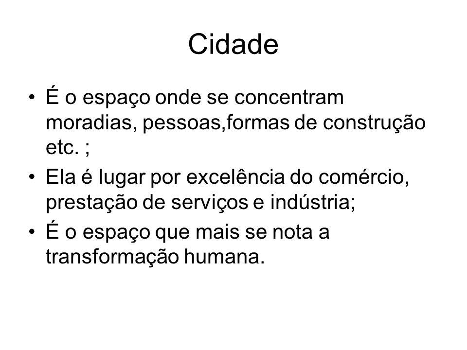 Cidade É o espaço onde se concentram moradias, pessoas,formas de construção etc. ;