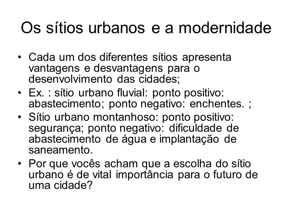 Os sítios urbanos e a modernidade