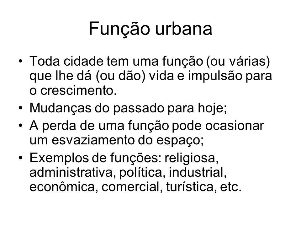 Função urbana Toda cidade tem uma função (ou várias) que lhe dá (ou dão) vida e impulsão para o crescimento.