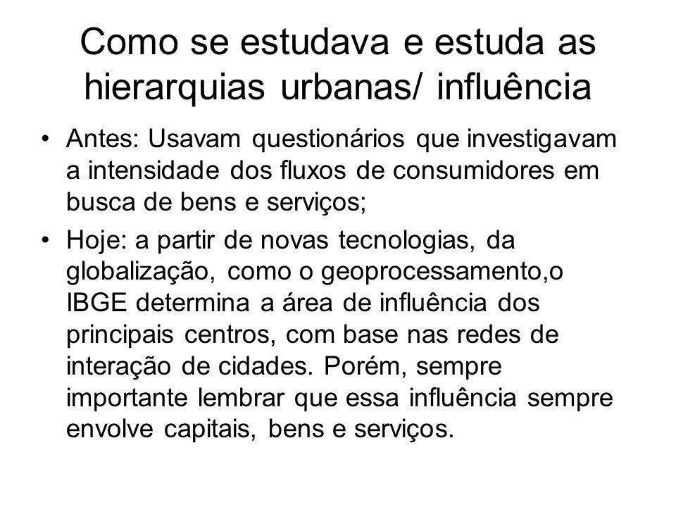 Como se estudava e estuda as hierarquias urbanas/ influência
