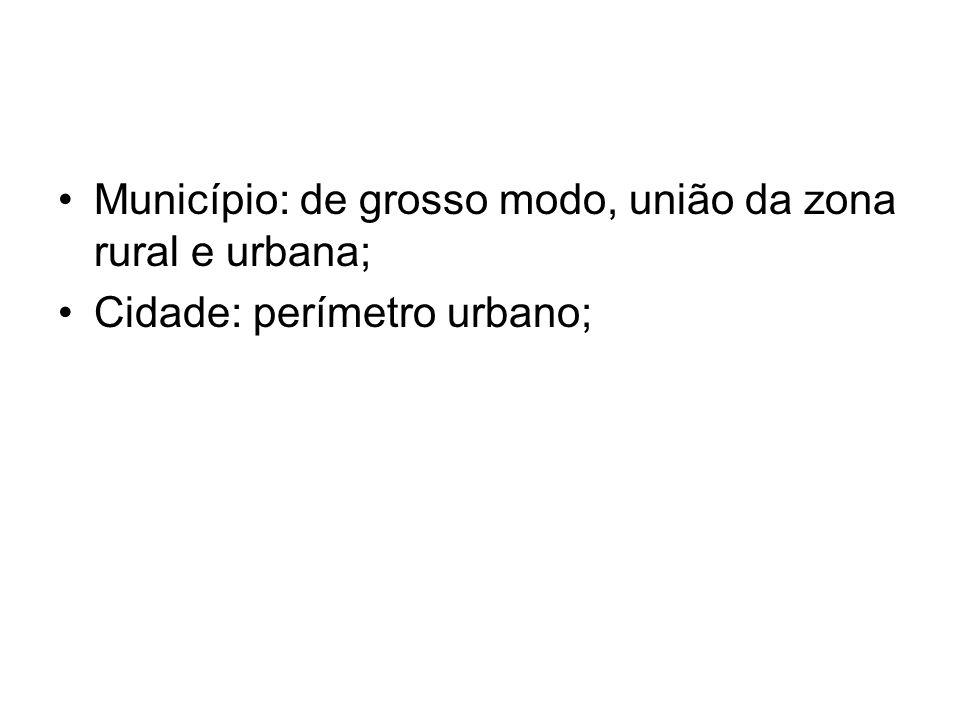 Município: de grosso modo, união da zona rural e urbana;