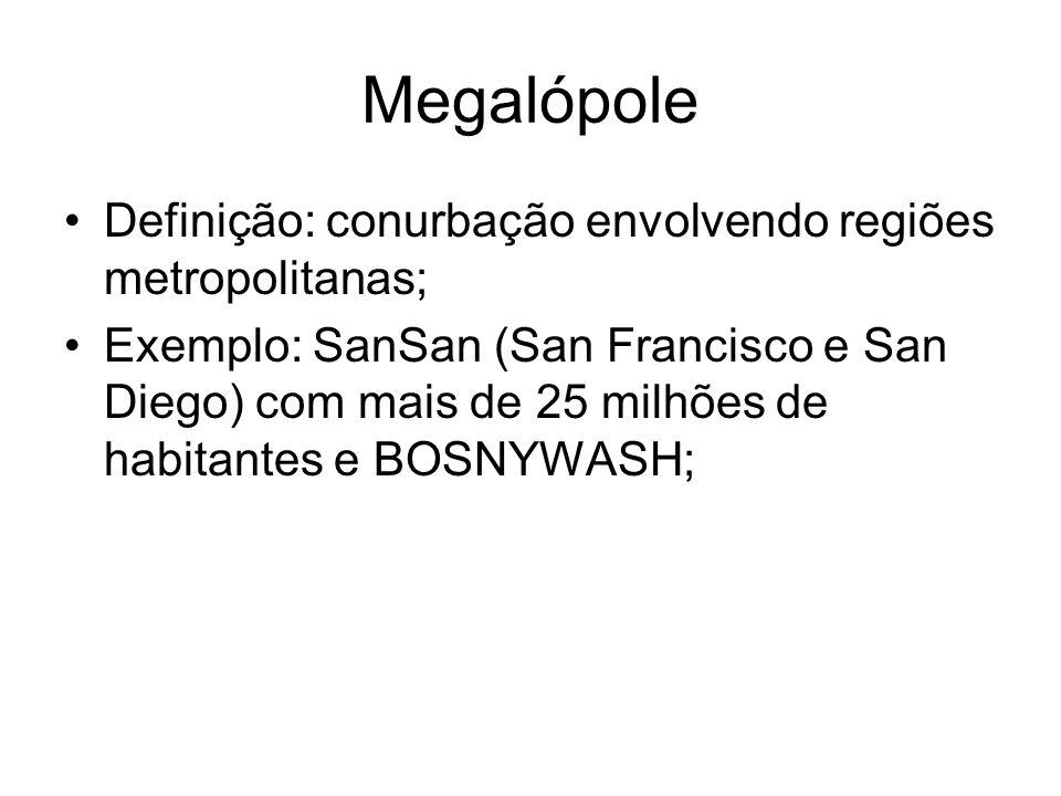 Megalópole Definição: conurbação envolvendo regiões metropolitanas;