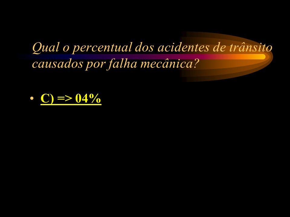 Qual o percentual dos acidentes de trânsito causados por falha mecânica