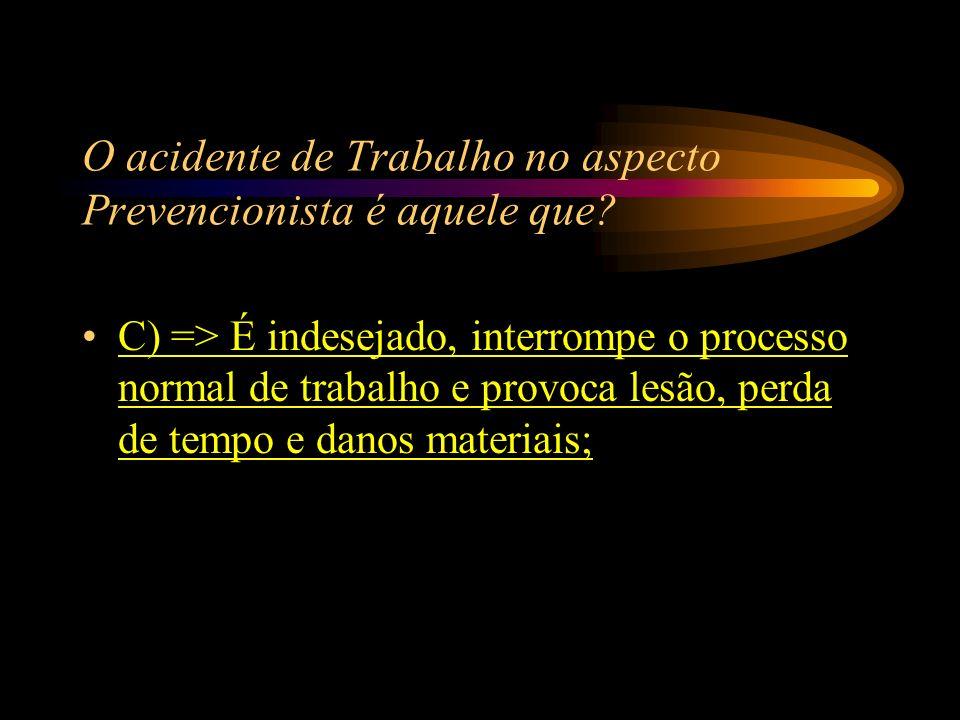 O acidente de Trabalho no aspecto Prevencionista é aquele que