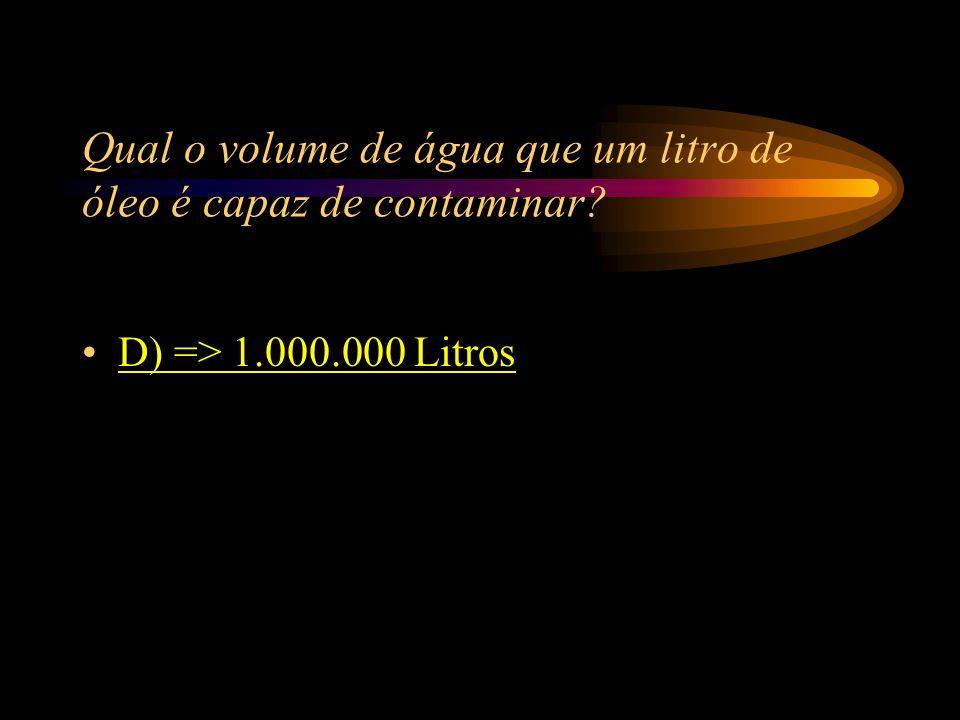 Qual o volume de água que um litro de óleo é capaz de contaminar