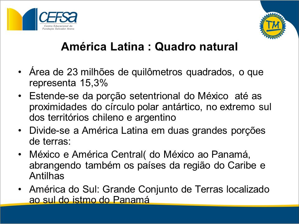 América Latina : Quadro natural