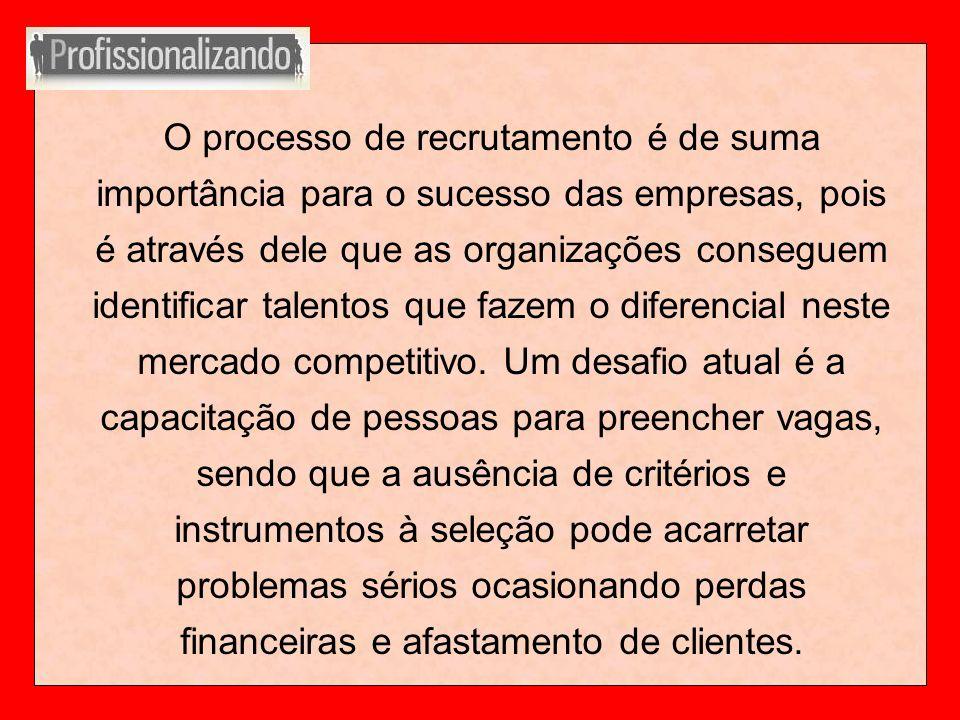 O processo de recrutamento é de suma importância para o sucesso das empresas, pois é através dele que as organizações conseguem identificar talentos que fazem o diferencial neste mercado competitivo.