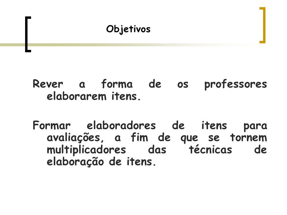 Rever a forma de os professores elaborarem itens.