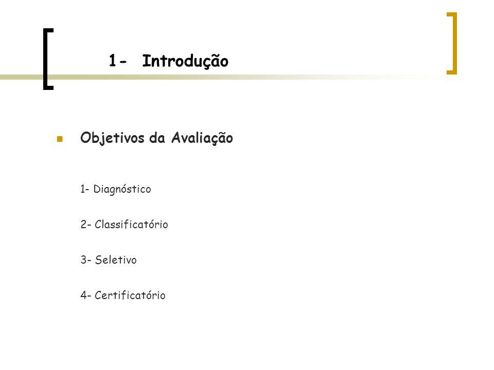 1- Introdução Objetivos da Avaliação 1- Diagnóstico 2- Classificatório