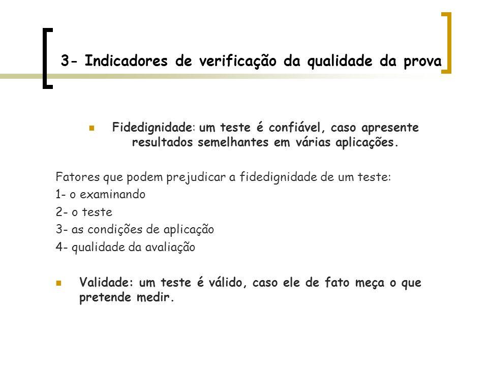 3- Indicadores de verificação da qualidade da prova