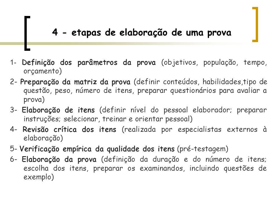 4 - etapas de elaboração de uma prova