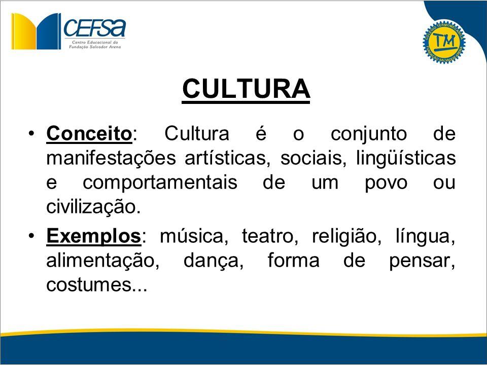 CULTURA Conceito: Cultura é o conjunto de manifestações artísticas, sociais, lingüísticas e comportamentais de um povo ou civilização.