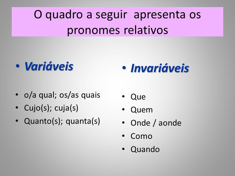 O quadro a seguir apresenta os pronomes relativos