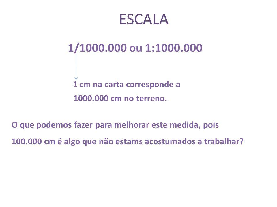 ESCALA 1 cm na carta corresponde a 1/1000.000 ou 1:1000.000