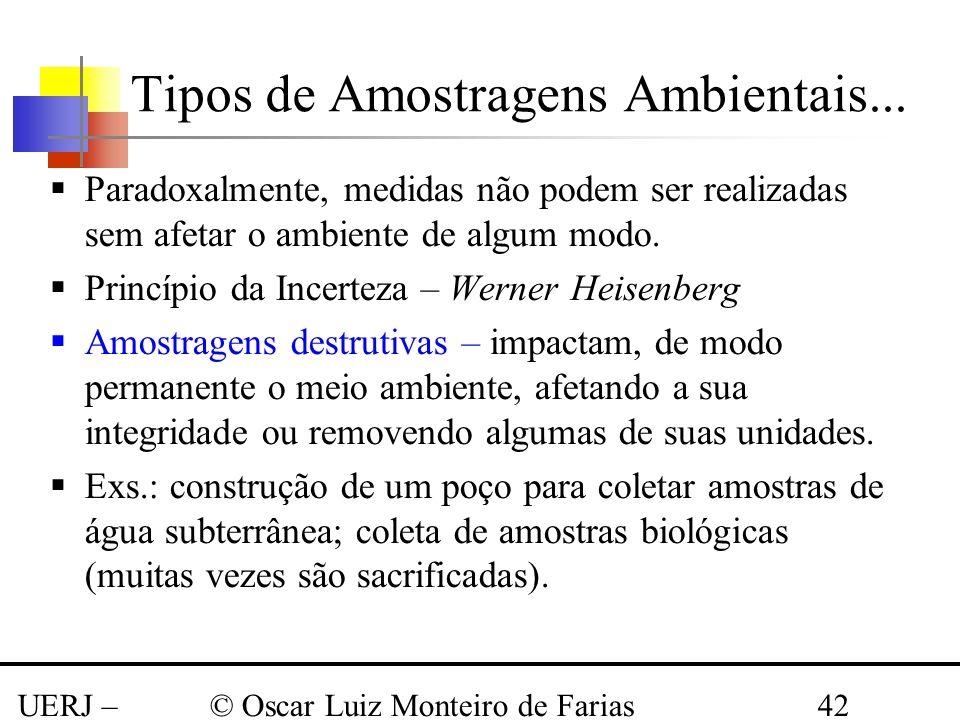 Tipos de Amostragens Ambientais...
