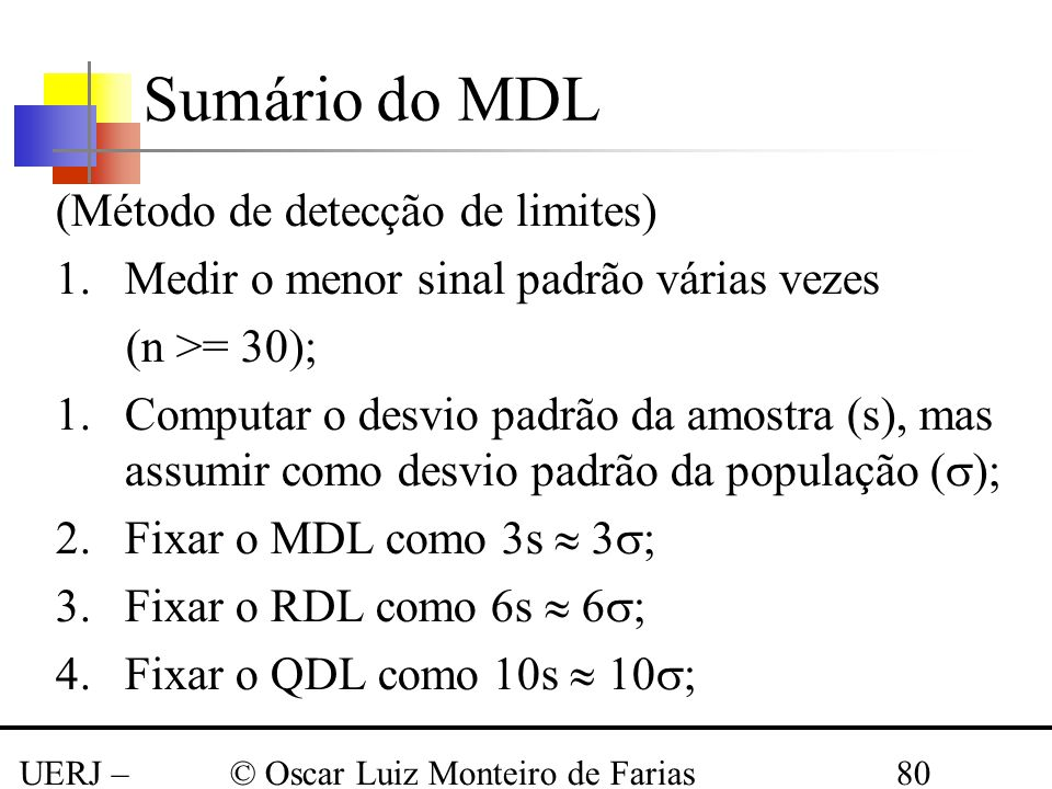 Sumário do MDL (Método de detecção de limites)