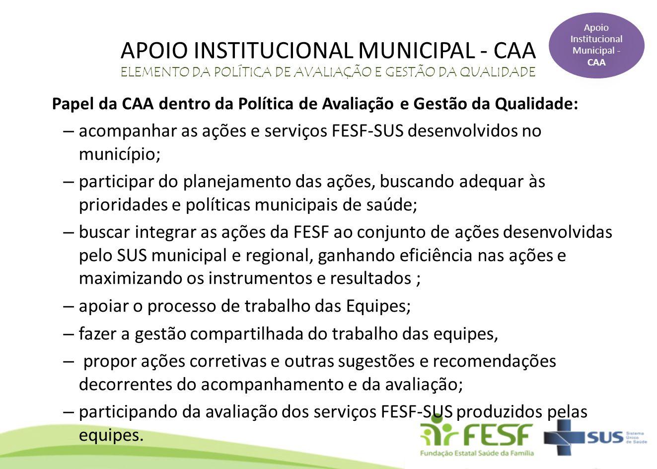 Apoio Institucional Municipal - CAA