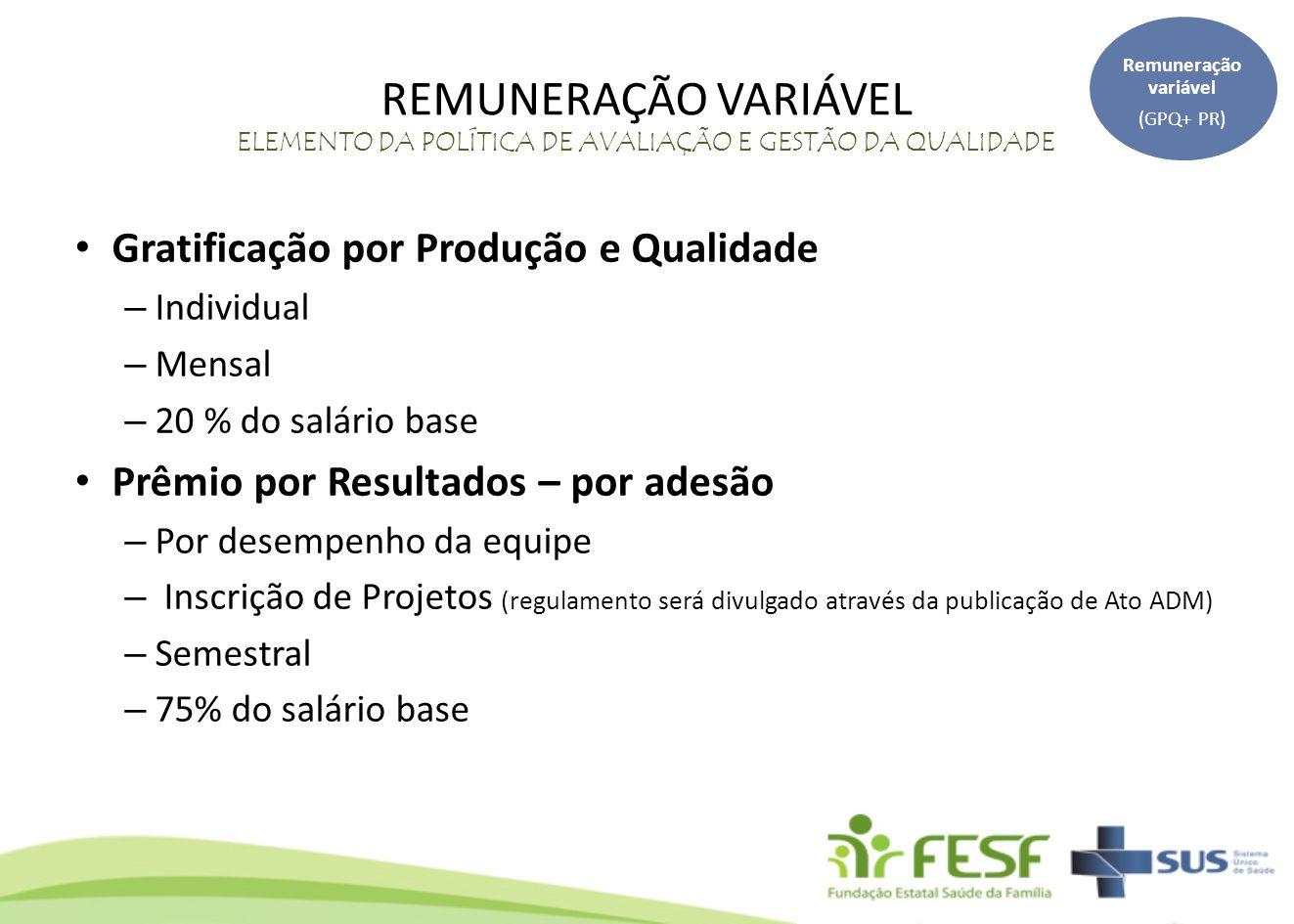 Remuneração variável (GPQ+ PR) REMUNERAÇÃO VARIÁVEL ELEMENTO DA POLÍTICA DE AVALIAÇÃO E GESTÃO DA QUALIDADE.