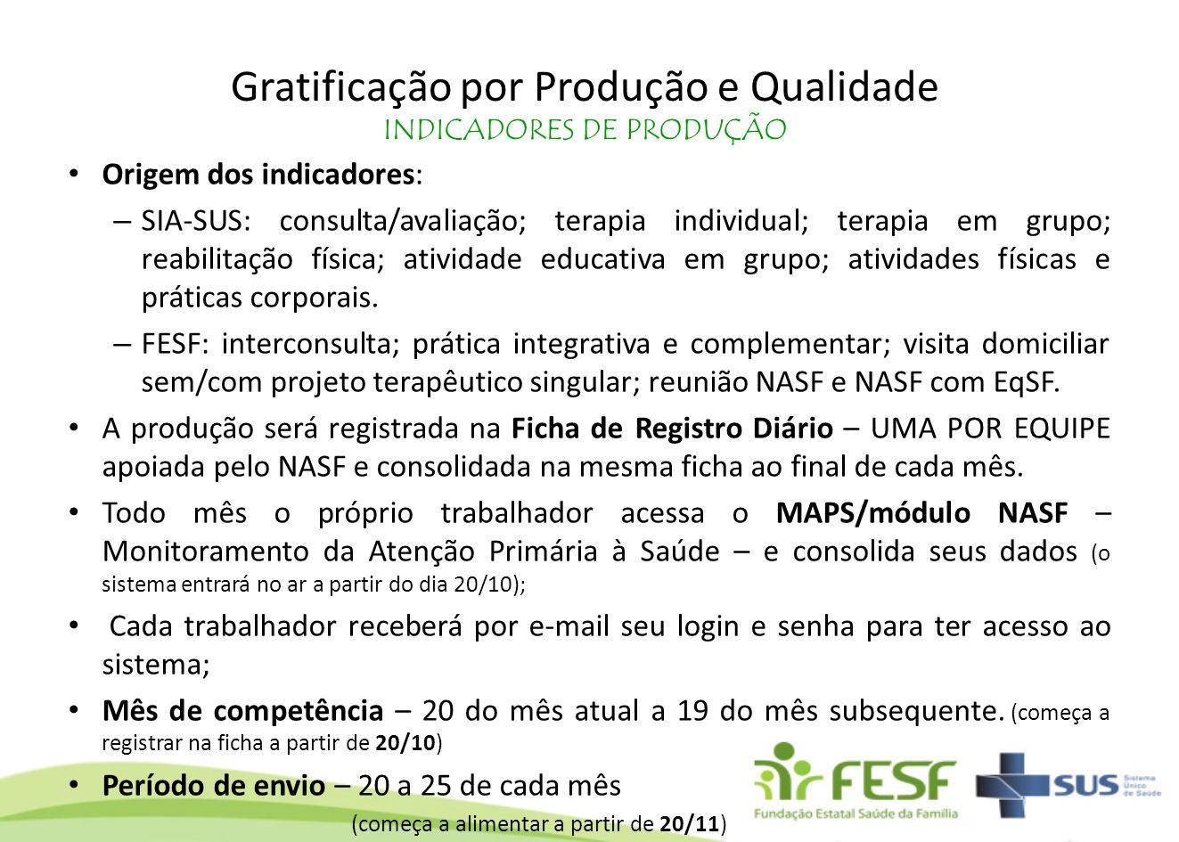 Gratificação por Produção e Qualidade INDICADORES DE PRODUÇÃO