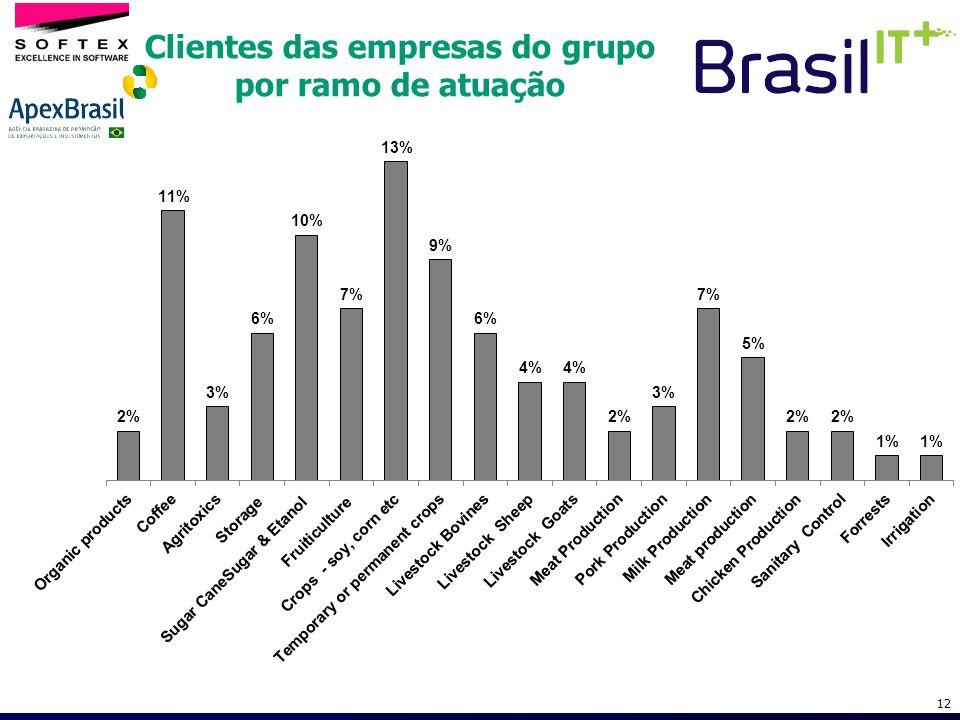 Clientes das empresas do grupo por ramo de atuação
