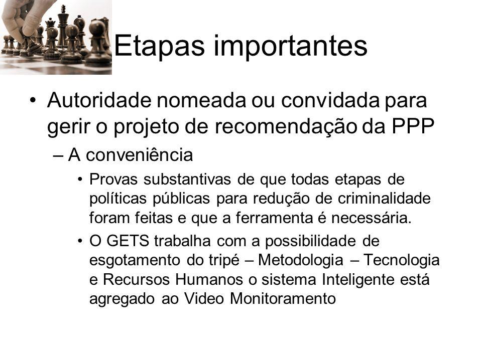 Etapas importantes Autoridade nomeada ou convidada para gerir o projeto de recomendação da PPP. A conveniência.