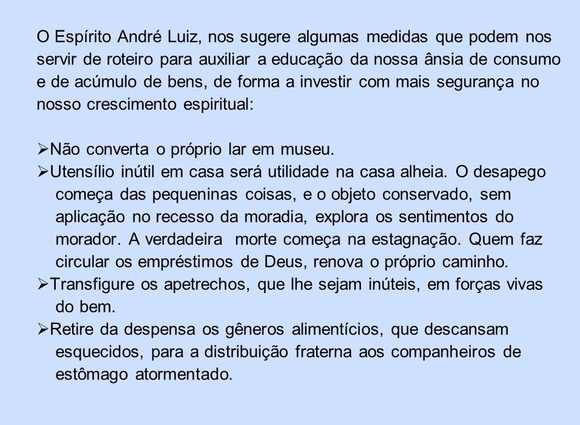 O Espírito André Luiz, nos sugere algumas medidas que podem nos