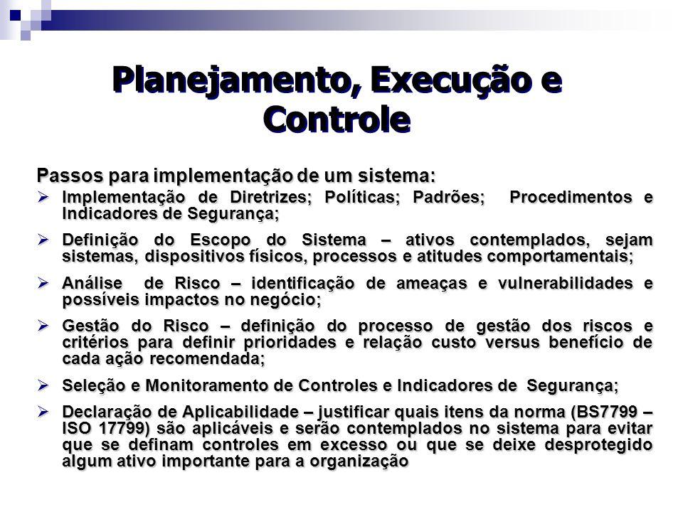 Planejamento, Execução e Controle
